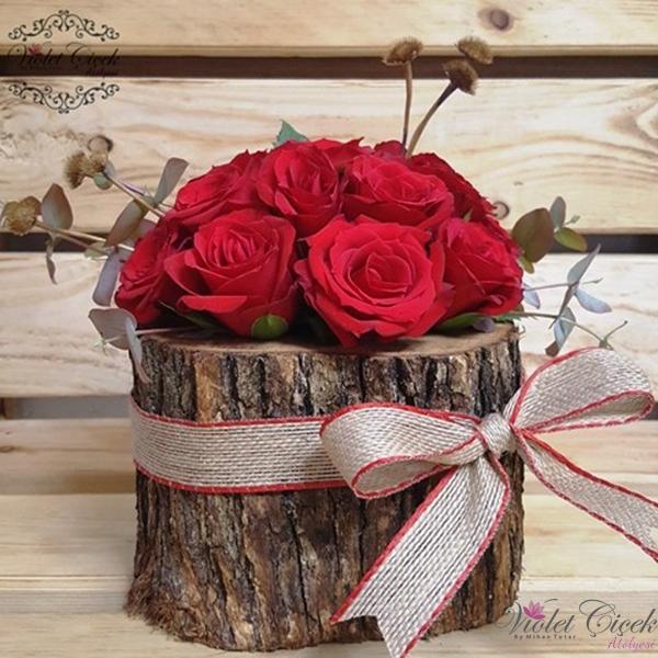 Kütükte Kırmızı Güller