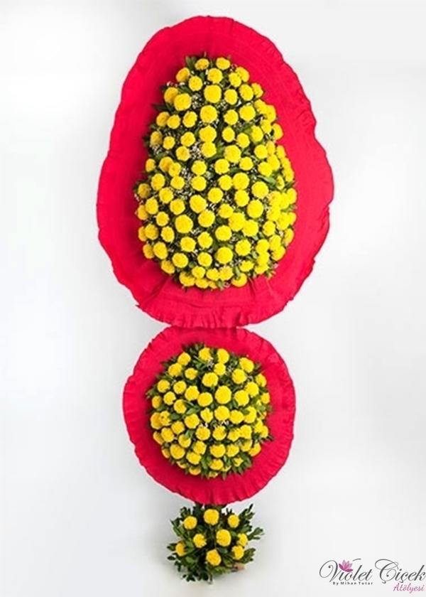 Kırmızı Çevreli Sarı Gelin Duvağı