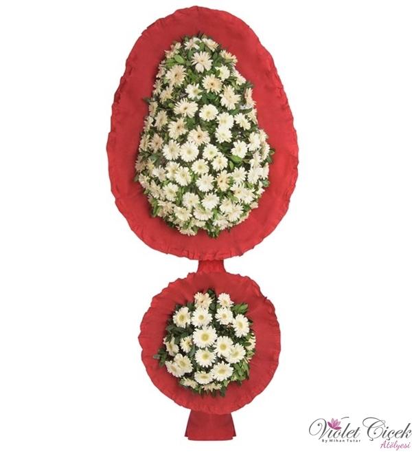 Kırmızı Beyaz Çiçekli İki Katlı Gelin Duvağı