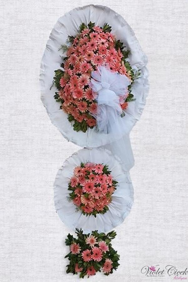 Pembe çiçekli 2 katlı büyük çelenk
